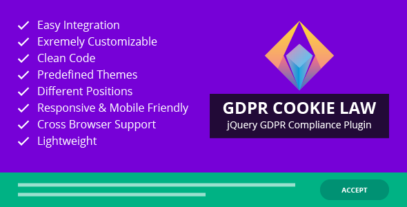 GDPR Cookie Law – GDPR Cookie Consent jQuery Plugin