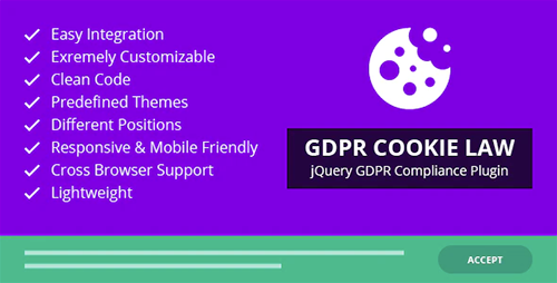 GDPR Cookie Law – jQuery GDPR Compliance Plugin